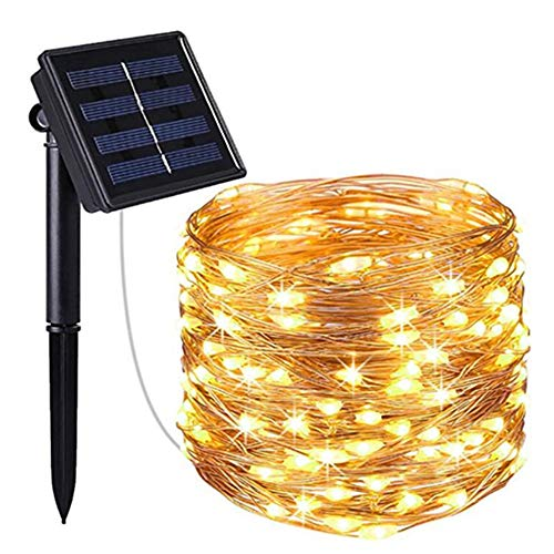 Solar Fairy String Lights Outdoor Waterproof 33FT 100LEDs Updated Version 6hrs Timer Function Solar Powered String Lights for Christmas Garden Patio Party-Blue MORNINGSUN