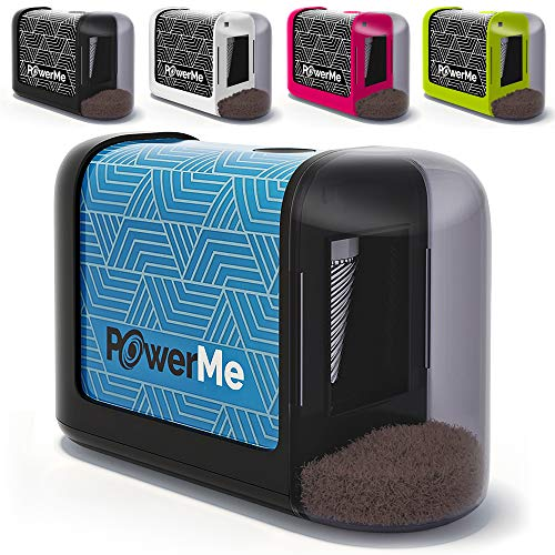 POWERME Electric Pencil Sharpener - Pencil Sharpener Battery Powered for Kids, School, Home, Office, Classroom, Artists � Battery Operated Pencil Sharpener For Colored Pencils, Ideal For No. 2 (Blue)