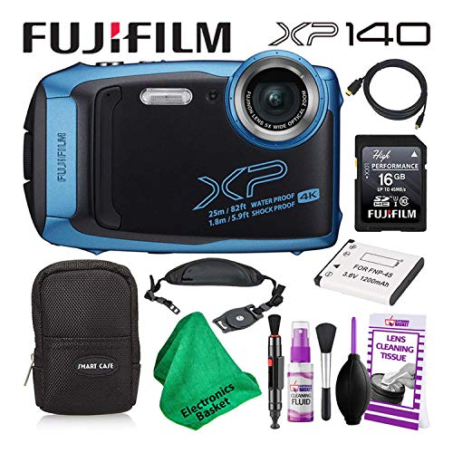 Fujifilm FinePix XP140 (600020656) Waterproof Digital Camera (Sky Blue) Budget-Friendly Camera Accessory Bundle Includes Camera Cleaning Kit, Zippered Carrying Case, and Lots More