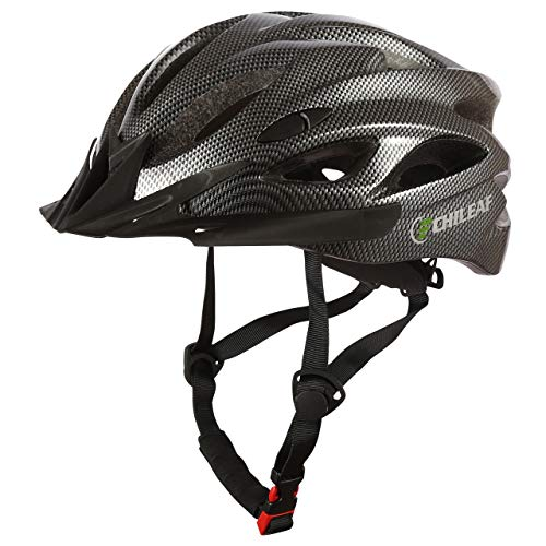 CHILEAF Casco da Bicicletta Sicurezza Sport della Bici con Visiera - Integrated Mountain Bike Bicycle Riding Helmet - 18 Vents Doppio in-Mould per Casco Bici Adulto 56-64 cm (Nero carbone)