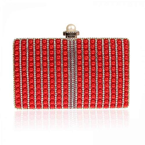 SCDSNB Abendtaschen Gold Red Day Kupplungen Volles Kleid Stickerei Abend Kupplung Hochzeit Braut Handtasche Handtaschen (Farbe : Rot)
