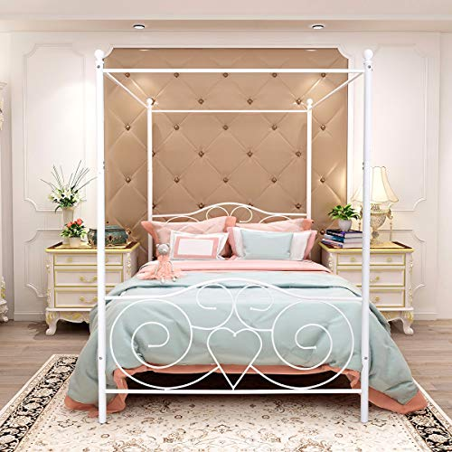 Canopy Bed Frames Full Size with Vintage Headboard and Footboard Metal Bed No Box Spring Required Heavy Duty Slat Platform Without Storage, Full, White