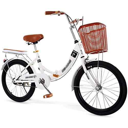 YSHUAI 20/22/24 Zoll Retro Klapprad Freizeit Klappräder Folding Bike Klappfahrrad Faltbares Fahrrad Für Männer Und Frauen, Faltrad Mit Rücklicht Und Autokorb,24inch