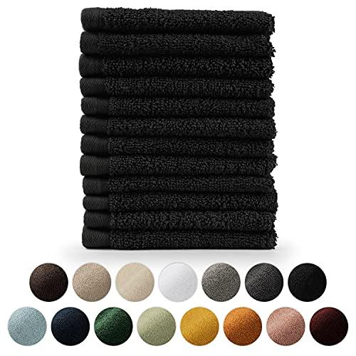 Blumtal Set de 12 Toallas para la Cara (30x30cm) - Toallas Suaves y Absorebentes, 100% algodón, Certificado Oeko-Tex 100, Negro