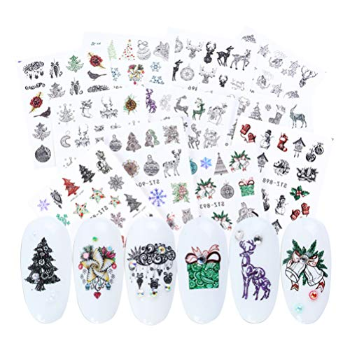 Minkissy Christmas Nail Stickers 24 Sheets Elk Snowman Christmas Tree Nail Art Tattoo Decals Autumn Winter Water Transfer Tip Stickers Decorations for Nail Salon