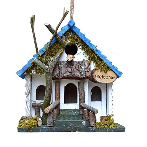 Vogelhuis Vogelhuisjes Uitstekende Houten Steeple, Engels Cottage-binnentuin Bird House, Een Comfortabele Rustplaats For Vogels Open Lucht Decoratieve Tuin (Color : Blue, Size : Free size)
