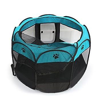 Tineer Portable Pet Cat Cage pour Chien Niche Chenil Tente Lit Parc d'enfant Camping de Plein air Pliable Maison de Caisse de Chien de Voyage Playpen (S:72×72×45cm, Bleu)