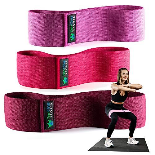 ZenOne Sports ZenLoops Fabric Fitnessbänder aus Stoff, 3 Hip Bands in versch. Stärken, Resistance Bands für Bein- & Po Training, inkl. Workout-Guide & Tasche, 3 STK. (Berry)