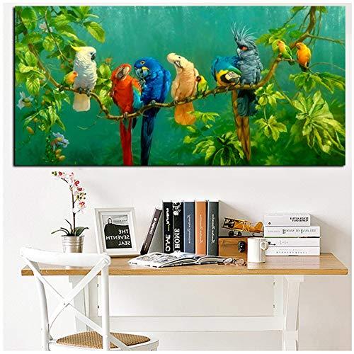 NIEMENGZHEN Wandkunst Papagei Vogel auf Zweigen Holz Landschaft Malerei auf Leinwand Poster Druck Wandbild für Wohnzimmer Cuadros Dekor 27,5