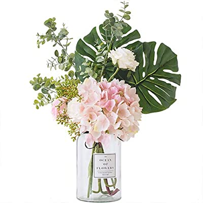Indie shop 1 Set Clear Vase and Flower Set Hydrangea Bouquet 14.6 Inch Height