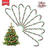 jeeri 24 Stück Zuckerstange Candy Canes, Rote und grüne Streifen Candy Canes Zum Dekorieren des Weihnachtsbaumes