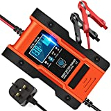 JXWL Car Battery Charger, Automotive 7 Stage Charging Intelligent Battery Charger & Maintainer Delivers, Use for Lithium Batteries, Calcium/Lead-acid Batteries 12V/24V 6/3 Amp with LCD Screen