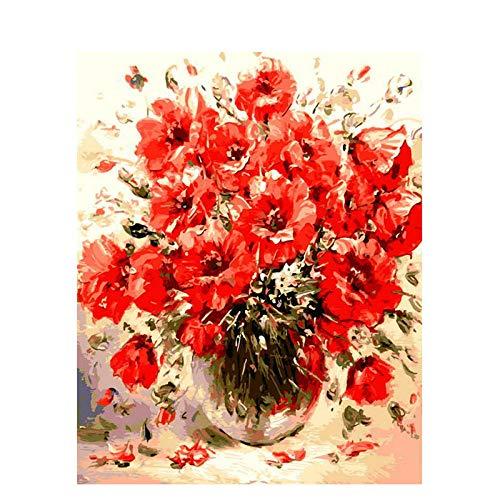 Joilkmgg Dipingi con i Numeri Corn Poppy Flower Kit di Pittura a Olio su Tela Senza Cornice Fai da Te per Bambini Pennelli per dipingere e pigmento Acrilico 40x50cm