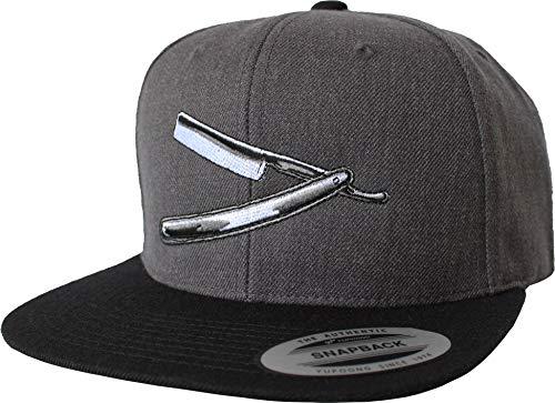 Cap: Rasiermesser - Flexfit Snapback Urban Streetwear Basecap - Beard Bart Barber-Shop Friseur Bärte Hipster Geschenk Männer Mann Frau-en - Baseball-cap Kappe - Arbeit-s (One Size Grey)