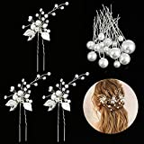 Horquillas Pelo Mujer de Novia, Taumie 21 Piezas Horquillas para el pelo de boda, Perlas de Diamantes Horquillas, Pinzas para el Cabello en Forma de U para la Boda y Fiesta