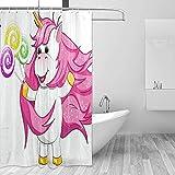 GABRI Niedlicher Cartoon, der leckere Süßigkeiten-Duschvorhang-Set für Badezimmer aus wasserdichtem Polyestergewebe mit Haken zu Hause isst 36x72 inch