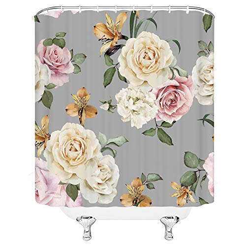 Floral Shower Curtain, Grey and Cream Shabby Chic Rose Flower Spring Penny Vintage Art Fabric Bathroom Decor Sets with 12 Hooks,71X71 Inchs,Gray Pink