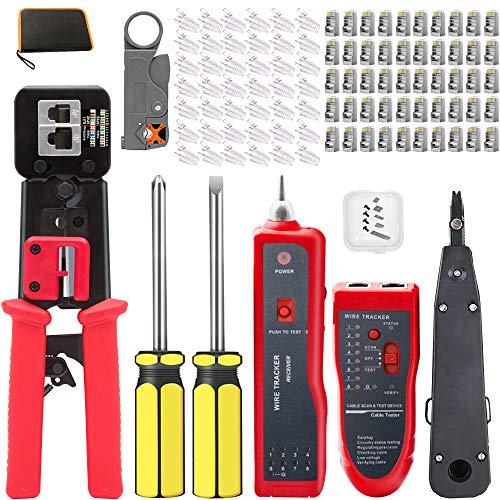 MAYLINE - Pelacables de red para cables RJ11/RJ12/RJ45, CAT5/CAT6, juego de cortadoras de pelacables, herramientas profesionales de crimpado de cables, conectores y alicates de perforación (rojo rosa)