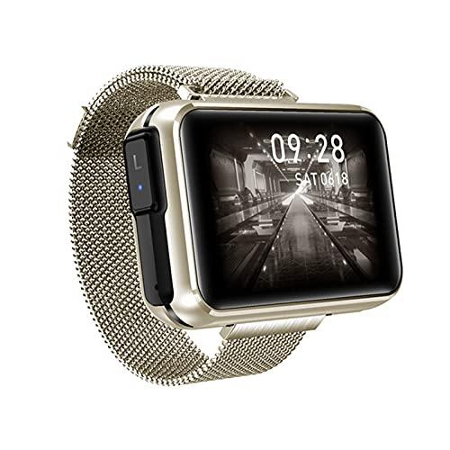 Bluetooth Smart Watch, Multifunción Smart Watch con Earphone Activity Activity Tracker, Monitoreo De Frecuencia Cardíaca Y Datos De Ejercicios De Grabación,Oro
