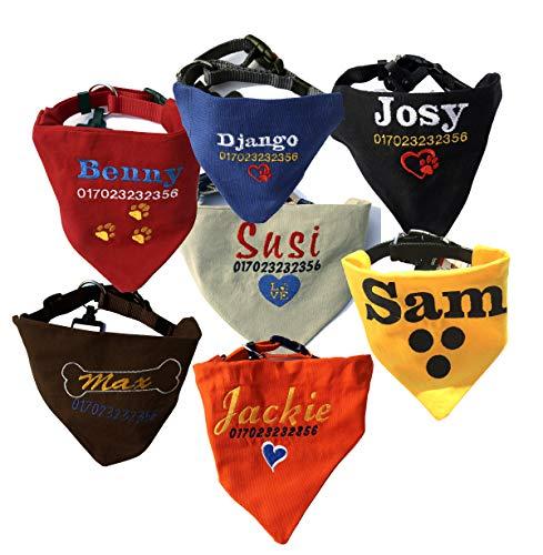 Dogidogs Hundehalstuch personalisiert Bestickt mit Namen, Telefonnummer und Motiv 5 Größen, 6 Farben (S (20 x 14 cm) - 15 mm Halsband (30 bis 45 cm)