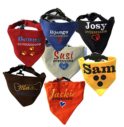 Dogidogs Hundehalstuch personalisiert mit Namen, Telefonnummer und Motiv 5 Größen, 6 Farben (M (29 x 17 cm) - 20 mm Halsband (40-55 cm)
