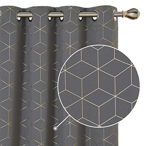Deconovo Blackout Curtains Gold Diamond Foil Print Light Grey, 52W x 84L Inch, Room Darkening Thermal Insulated Light Blocking Grommet Curtain Panels for Living Room 2 Panels