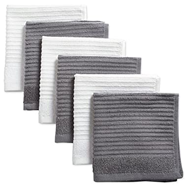 DII Cotton Luxury Ribbed Terry Dish Cloths, 12 x 12  Set of 6, Ultra-Absorbent Cleaning Drying Kitchen Towels-Gray/White