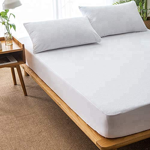Queens Land Home Extra Deep Waterproof Terry Towel Mattress Protector Fitted Sheet Bed Cover (King)