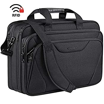 KROSER Laptop Bag Premium Laptop Briefcase Fits Up to 17.3 Inch Laptop Expandable Water-Repellent Shoulder Messenger Bag Computer Bag for Travel/Business/School/Men/Women-Black