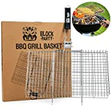 Block Party Grill Basket for Chicken, Shrimp, Fish, Vegetables, etc. BBQ Accessories for Outdoor Cooking. Heavy Duty 304 Stainless Steel. Also Perfect for Campfire and Smoker