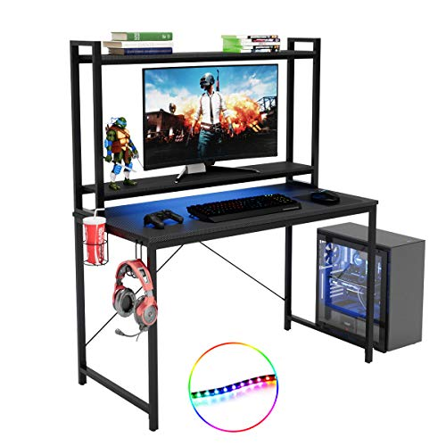 Bestier RGB Gaming Desk with Hutch, LED Lights Computer Desk Carben 47 inch Modern Study Writing Desk Ergonomic Adjustable Shelves with Workstation for Home Office Student Dormitory