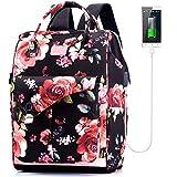Lekesky Women Backpack, 15.6 inch Laptop Backpack for Women College School Girls USB Bookbag, Flower Printed