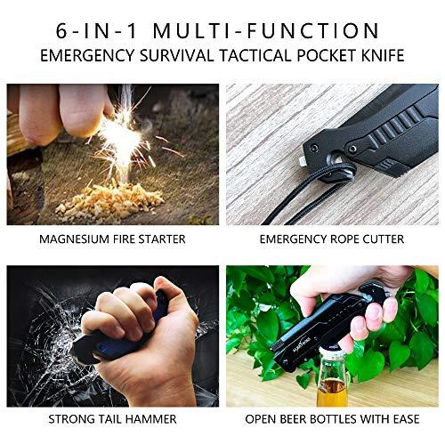 ALBATROSS 6-in-1 Survival Tactical Military Folding Pocket Knives with LED Light,Seatbelt Cutter,Glass Breaker,Magnesium Fire Starter,Bottle Opener;Multi-Function Emergency Tool(Black)