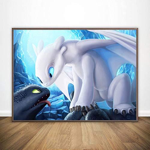 KWzEQ Leinwand malen, wie Sie Ihr Drachenplakat HD Wandkunst Kinderzimmer Bilddekoration trainieren,Rahmenlose Malerei,40X60cm