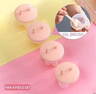 Egg Cooker- 4Pcs/Set Kitchen Household Egg Cooker Plastic Egg Cooker Kitchen Egg Cooker Tool Egg Mold Forming Machine With Lid Brush Pancake - Perfect Poached Egg Maker (Color : Pink)
