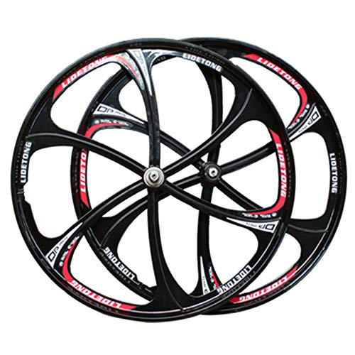 CAISYE Bicycle Rim 26' MTB Bike Mag Wheel Set Front&Rear Bicycle Bike Wheel Set 6-Spoke Rims Disc Brake Set 7/8/9/10 Speed Gear Cycling Wheels Axles Accessory