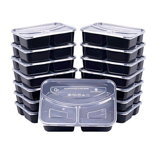 Meal Prep Containers, [15 Pack] Bayco 3 Compartment Food Prep Containers, lunch containers with lids - BPA Free, Leak Proof, Stackable, Reusable, Microwave, Dishwasher & Freezer Safe (36oz)
