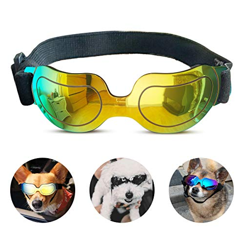 PEDOMUS Dog Sunglasses Small Dog Goggles Doggles Dog Glasses for Small Dogs UV Protection Windproof Waterproof Adjustable Band Yellow