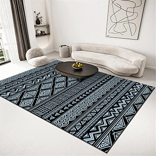 Geometría Abstracta Azul Claro Negro fácil de Mantener y Resistente al Desgaste Mesa de café de Oficina Dormitorio Sala de Estar Cocina Alfombra Antideslizante-El 160x230cm Alfombra Adecuado par