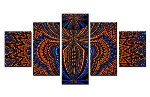 Pintura de Lienzo Abstracta de 5 Paneles para decoración de Sala de Estar Moderna Decoración de Pared de Arte Modular
