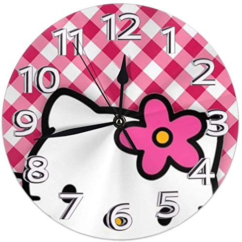 Wall Clock Silent Non Ticking - Hello Hello Kitty Battery Operated Round Easy to Read Home/Office/Classroom/School Clock 20x0.5 Cm New Year 2021