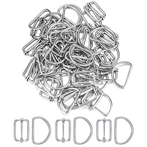 30 Pcs D Rings and 30 Pcs Triglide Slider Buckle Set, Metal D Ring Buckle, Tri-Glide Slides for Bag Making Hardware, Bag Accessories, Straps, DIY Craft, Ring Adjuster