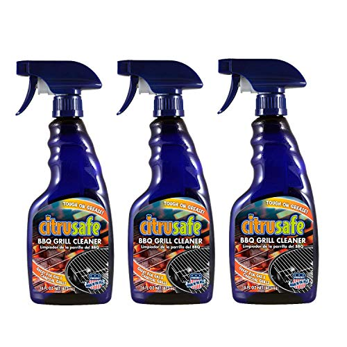CitruSafe 16 Fl Oz BBQ Grill Cleaner Three Pack (48 Fl Oz Total) - Cleans Burnt Food and Grease from Grill Grates - Great for Gas and Charcoal Grills