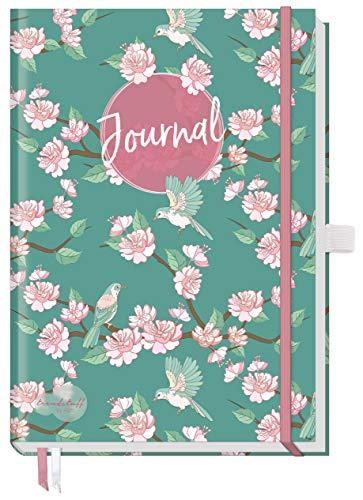 Trendstuff Premium Bullet Journal dotted, Notizbuch A5 gepunktet [Frühling] Tagebuch mit Punkteraster, Gummiband & Stifthalter | robust, biegsam, abwischbares Cover + extra dickes Papier