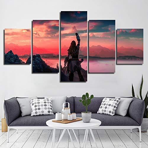 sakkdaull wanddecoratie Horizon Zero Dawn foto's HD-afdrukken 5-delig decoratie van het huis, spel canvas modulaire poster Obrazy