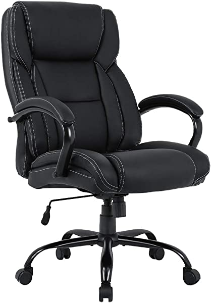 Big And Tall Office Chair 500lbs Desk Chair Ergonomic Computer Chair Wide Seat PU Leather High Back Executive Chair With Lumbar Support Headrest Arms Task Rolling Swivel Chair For Adults Black