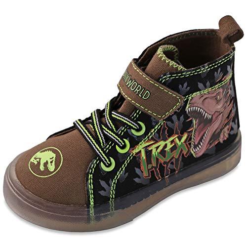 Jurassic World Boy's Canvas Lighted Hi Top Sneakers Toddler/Little Kid Black (12 M US Little Kid)