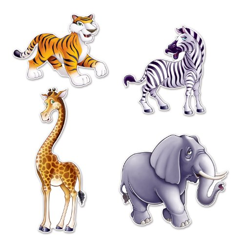 Beistle Assorted Jungle Animal Cutouts - 4 Pcs, Multicolored