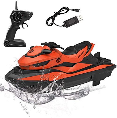 STOTOY RC-Boot, Ferngesteuerte Rennboote für Pools und Seen, 15 km / h Elektrisches Mini-Wasserfahrzeugboot für Kinder und Erwachsene mit 2,4 GHz, Funkgesteuertes Wasserfahrzeugboot im Freien
