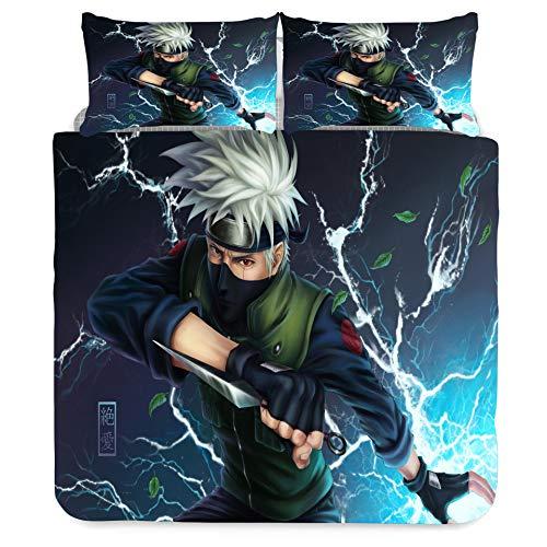 Jiaxiin Naruto - Hatake Kakashi Juego de Funda nórdica para Ropa de Cama 3 Piezas Funda de edredón Funda de Almohada de algodón (EU-Single)